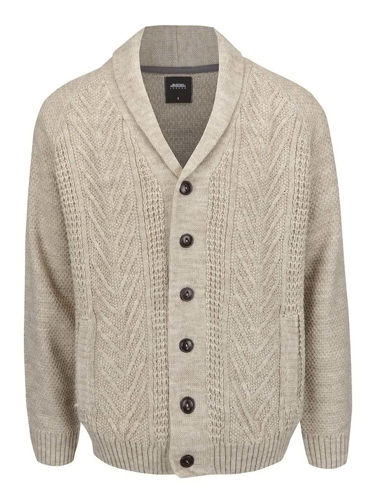 Cardigan bej tricotat Burton Menswear London
