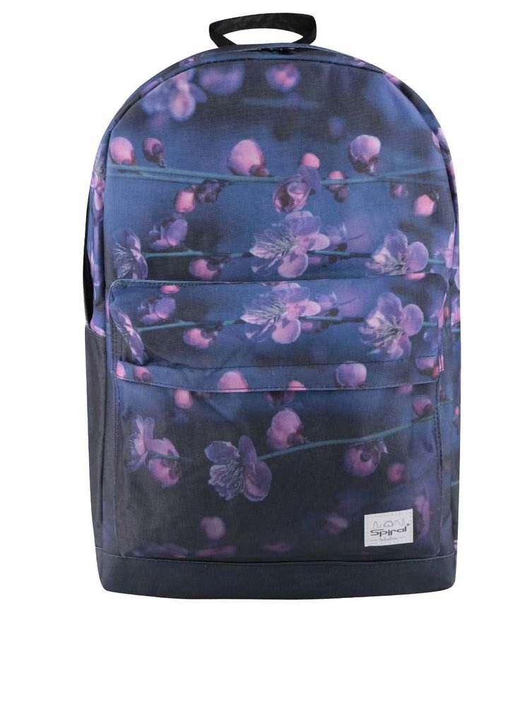 Fialovo-modrý květovaný dámský batoh Spiral Fade 18 l