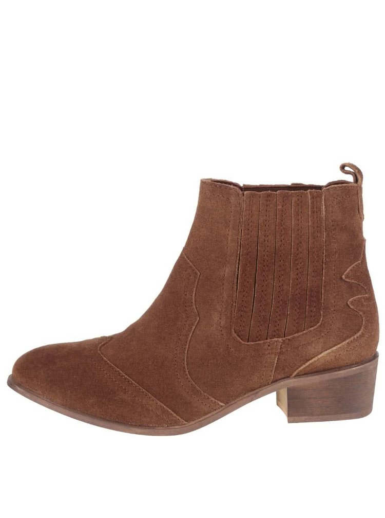 Hnědé kotníkové semišové chelsea boty Dorothy Perkins