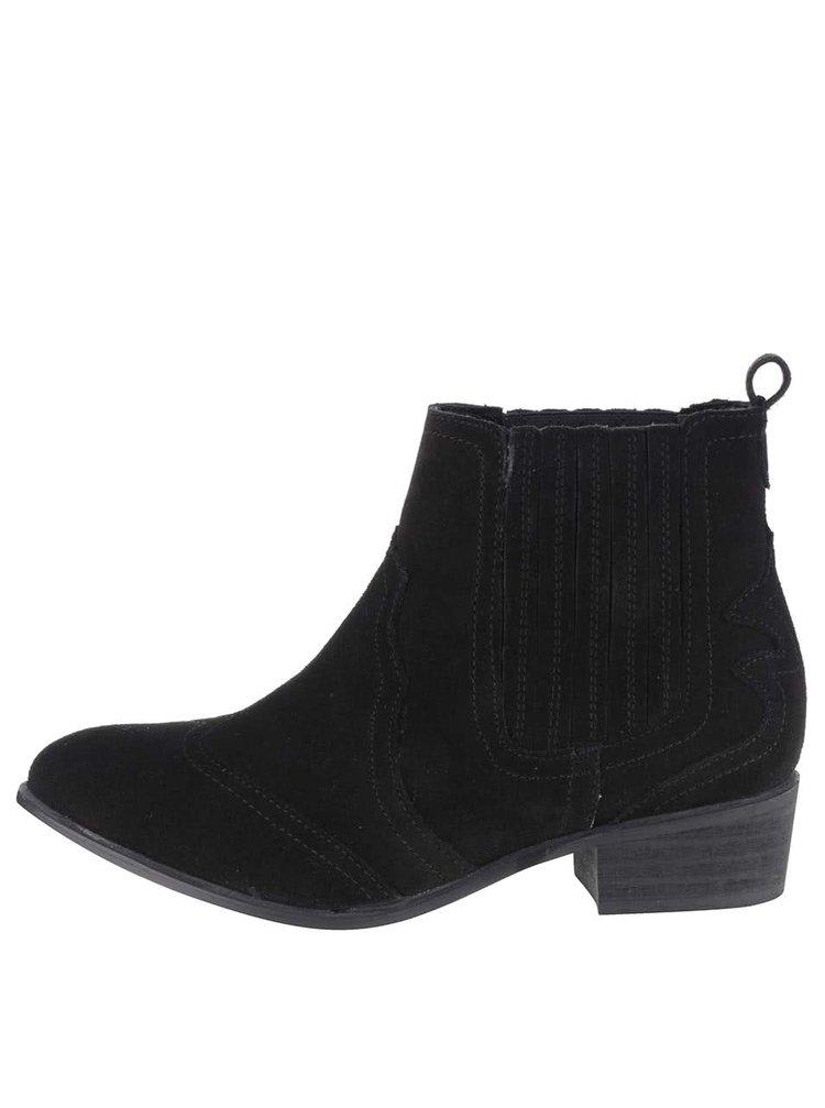Černé semišové kotníkové chelsea boty Dorothy Perkins
