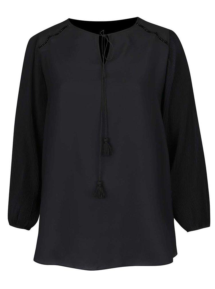 Bluză neagră Dorothy Perkins Curve cu șiret cu ciucuri