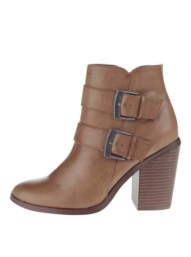 Hnědé kotníkové boty na podpatku s ozdobnými přezkami Dorothy Perkins