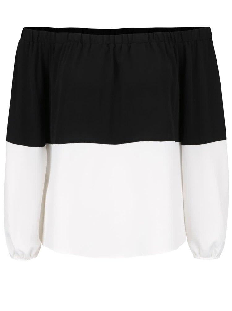 Bluză crem cu negru Miss Selfridge cu umerii goi
