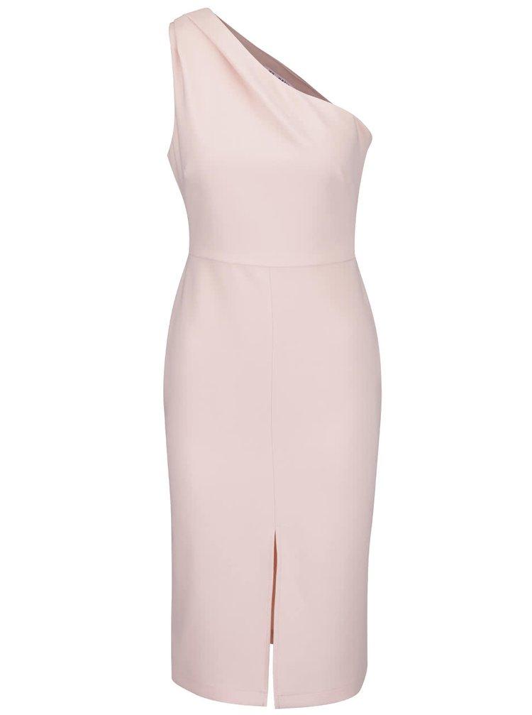 Světle růžové šaty přes jedno rameno Miss Selfridge Petites