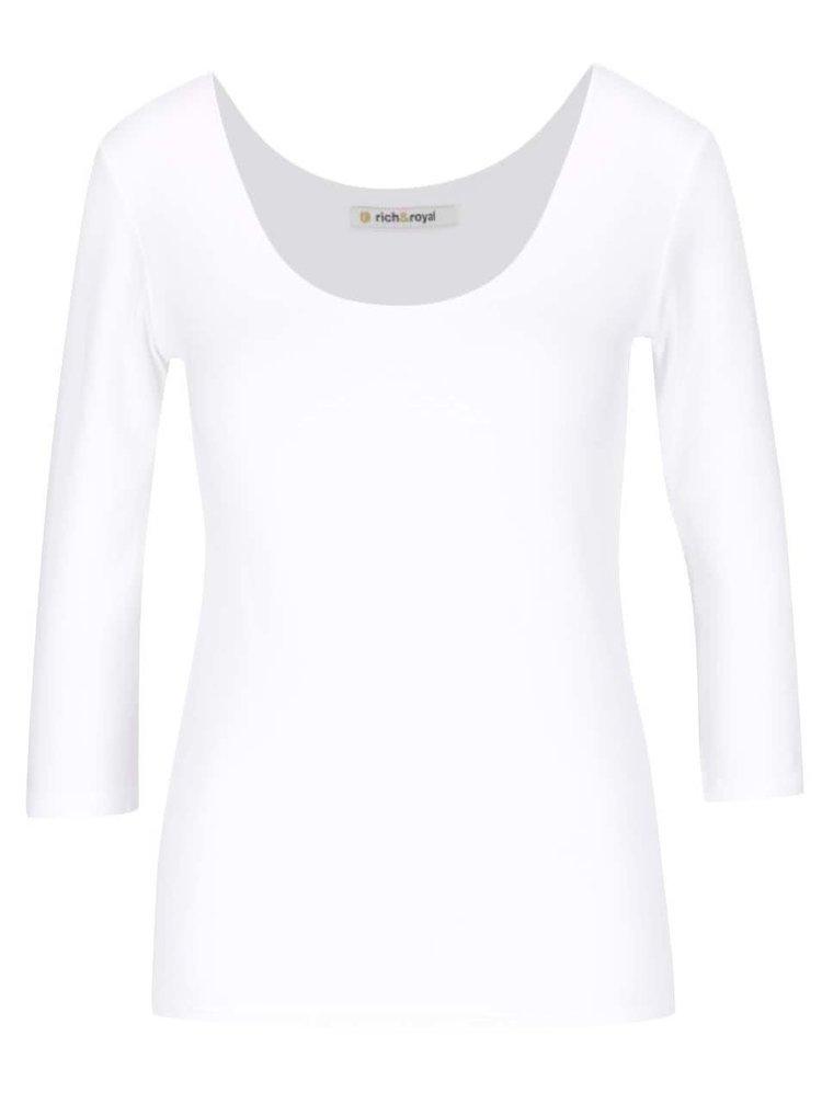 Krémové tričko s kulatým výstřihem a 3/4 rukávy Rich & Royal