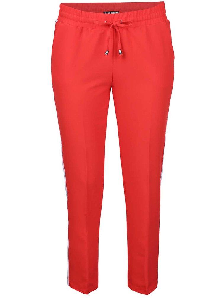 Červené kalhoty s bílým pruhem TALLY WEiJL