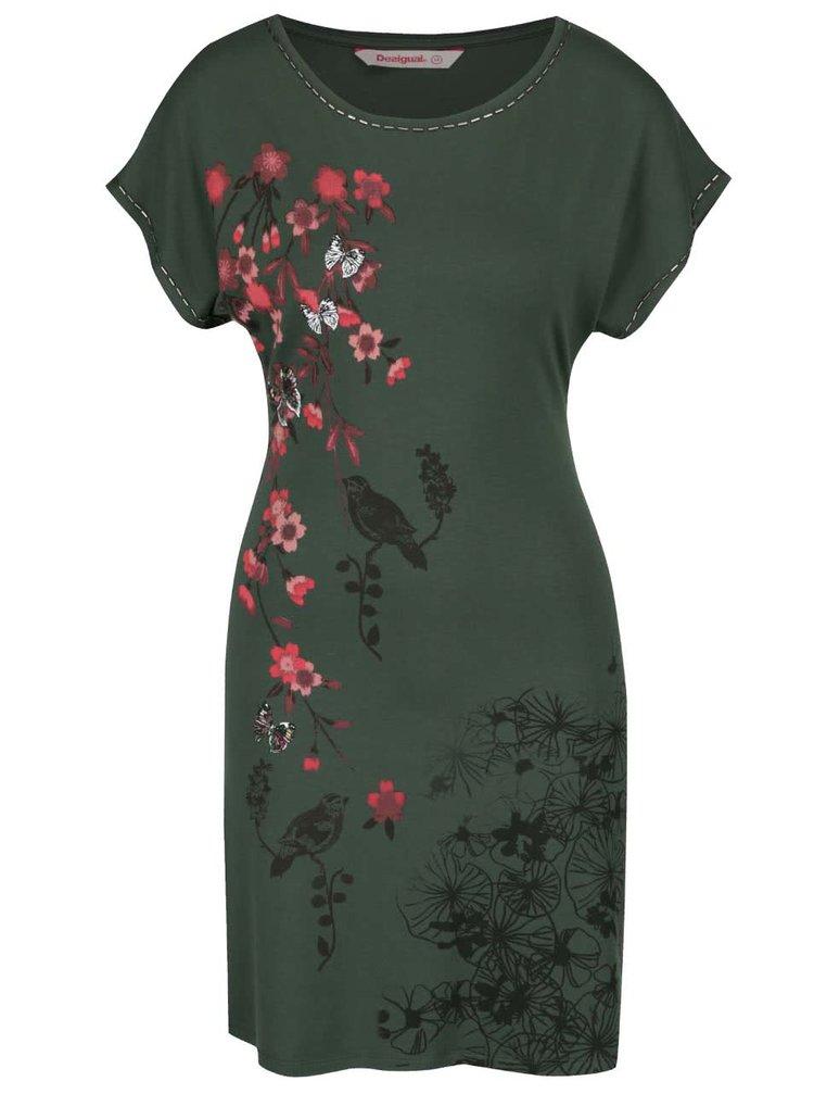 Tmavě zelené květované šaty s krajkou na zádech Desigual Lauras