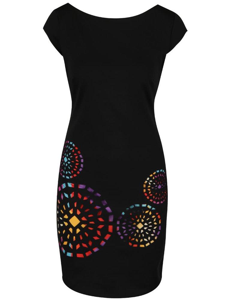 Rochie neagră Desigual Olimpic cu model