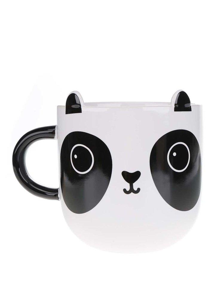 Čierno-biely keramický hrnček s motívom pandy Sass & Belle Aiko Panda Kawaii 480 ml