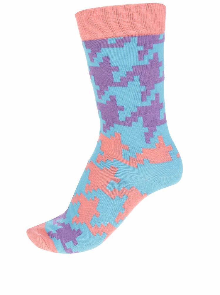 Oranžovo-tyrkysové dámské ponožky Happy Socks Dogtooth