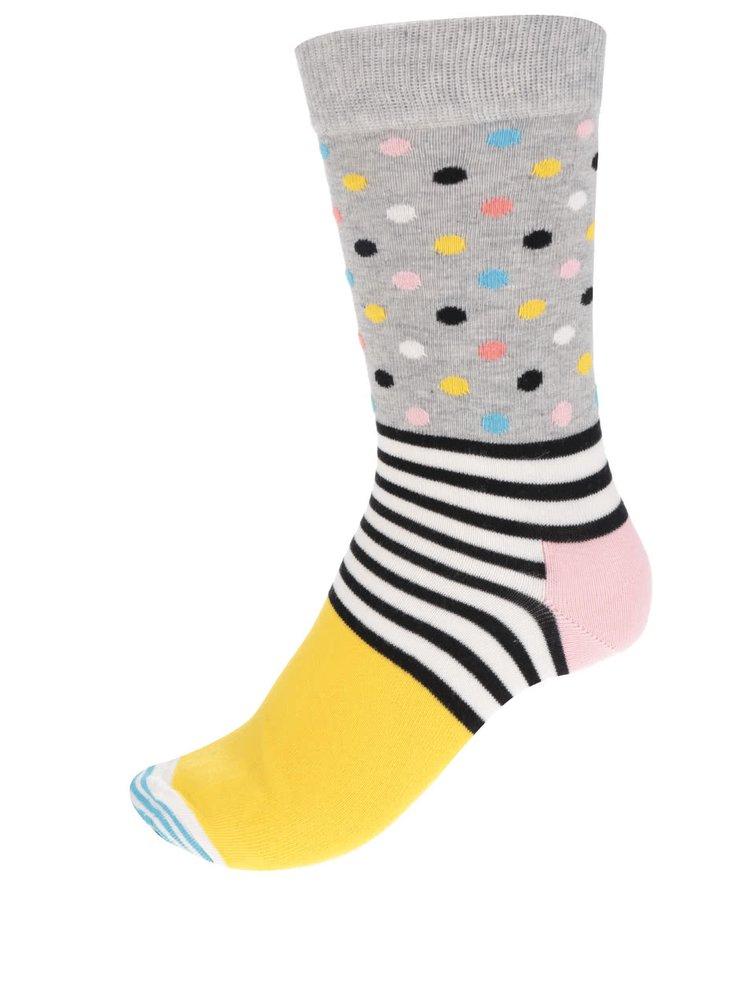 Žluto-šedé dámské ponožky s proužky a puntíky Stripes Dot Sock