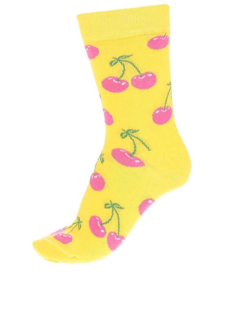 Žluté dámské ponožky s motivem třešní Happy Socks Cherry