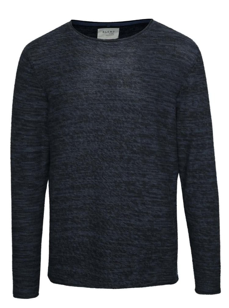 Tmavě modrý žíhaný lehký svetr Blend