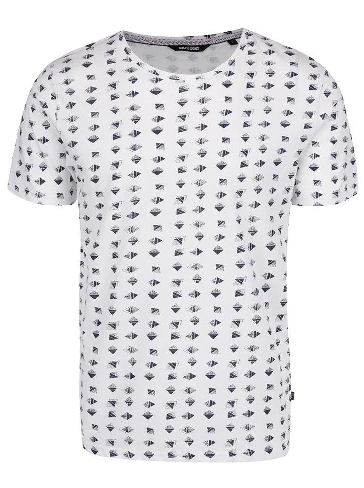 Bílé vzorované triko ONLY & SONS Power