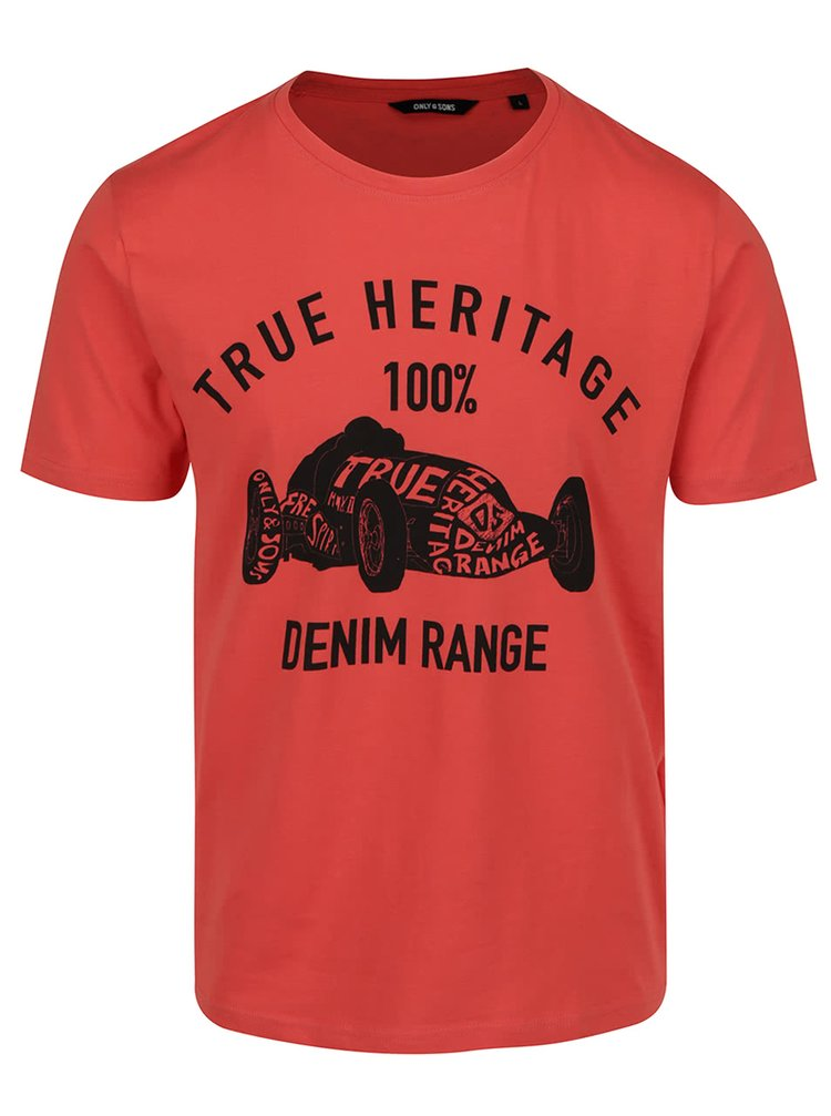 Tricou roșu ONLY & SONS Johnny din bumbac cu print
