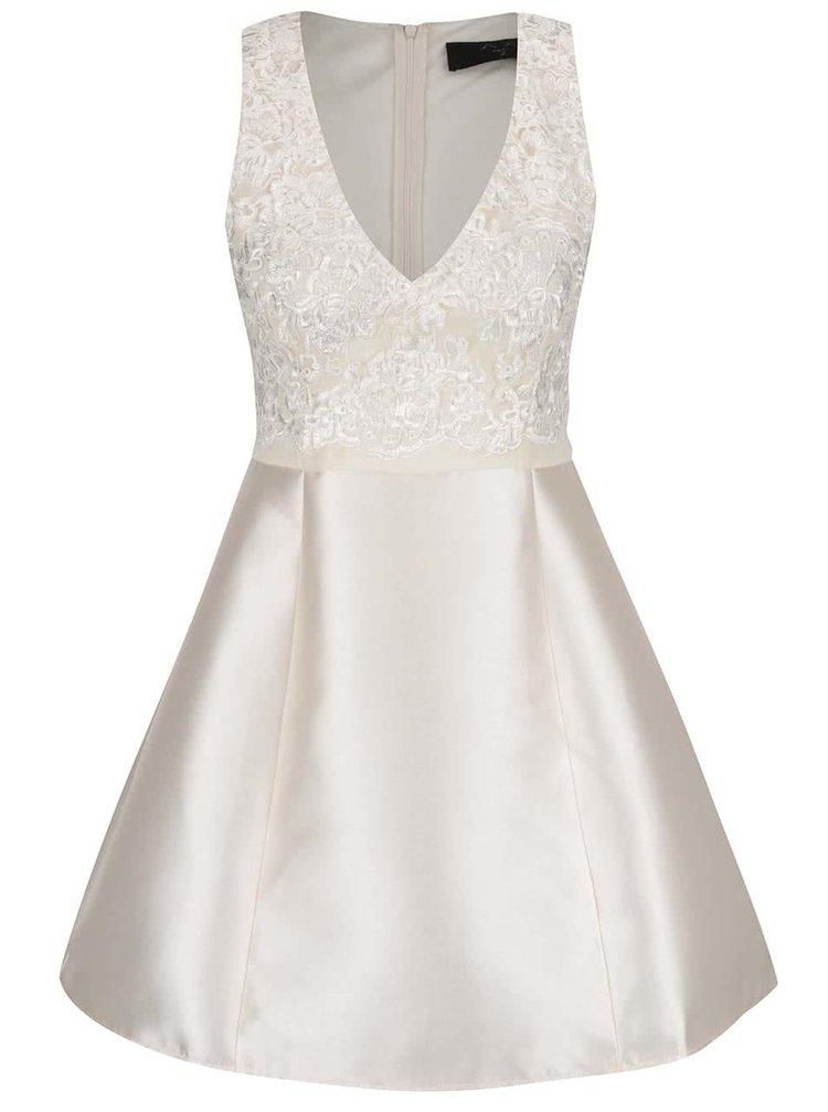Krémové lesklé šaty s krajkou AX Paris