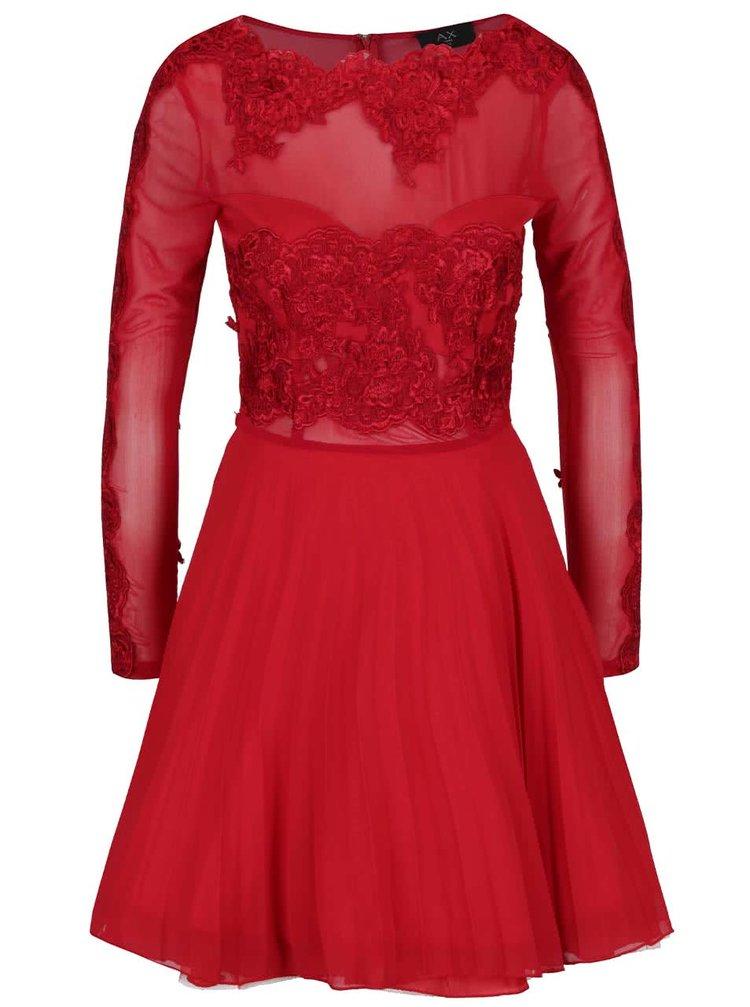 Červené šaty s krajkou, průsvitným dekoltem a dlouhými rukávy AX Paris