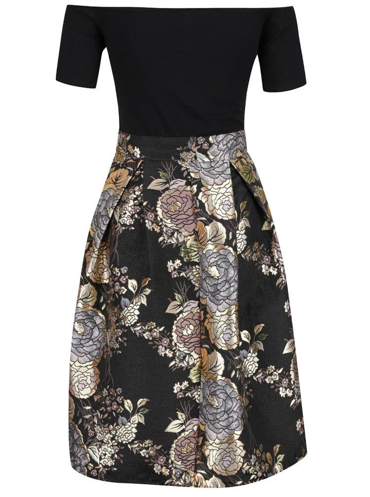 7ea6dd4ee92 ... Černé šaty s odhalenými rameny a květovanou sukní AX Paris