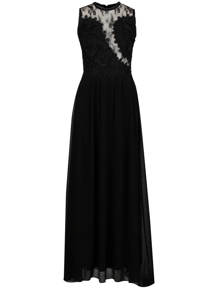 Černé dlouhé šaty s krajkovou horní částí a průsvitnými detaily AX Paris