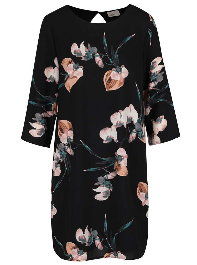 Černé volné květované šaty s 3/4 rukávem VERO MODA Elsie
