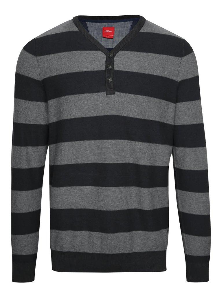 Šedo-černý pánský pruhovaný svetr s knoflíky s.Oliver