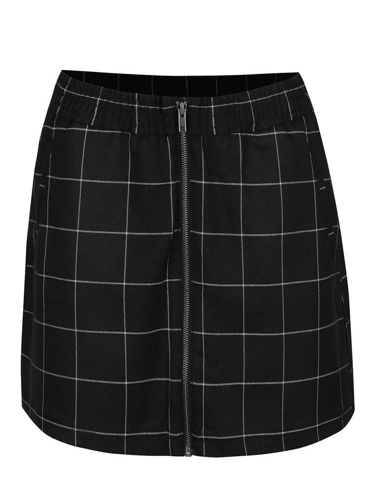 Černá kostkovaná sukně se zipem s.Oliver