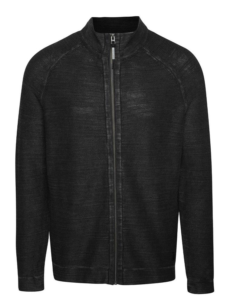 Tmavě šedý pánský žíhaný svetr na zip s.Oliver
