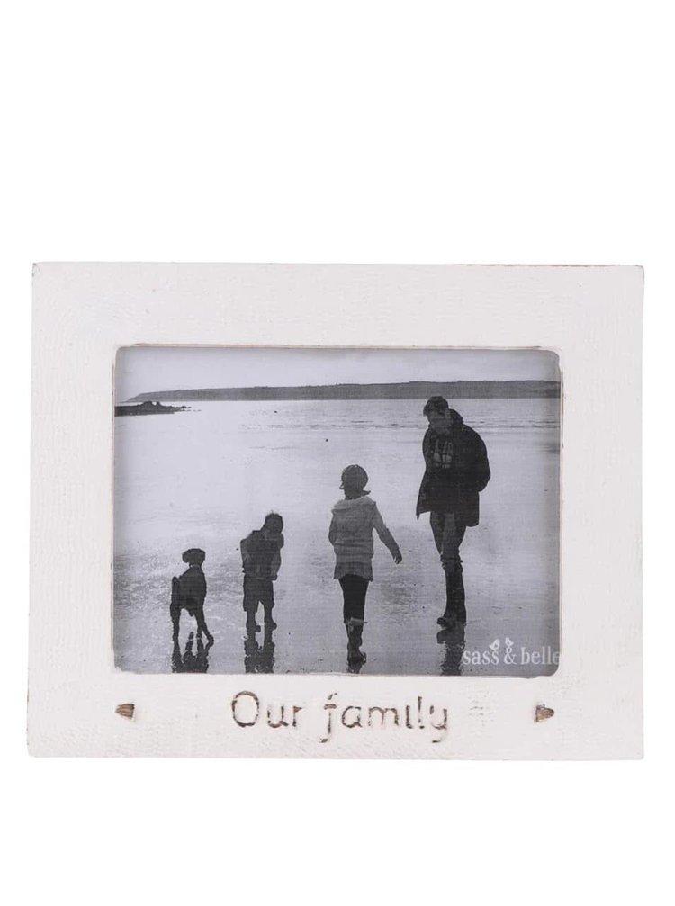 Krémový dřevěný fotorámeček Sass & Belle Our family