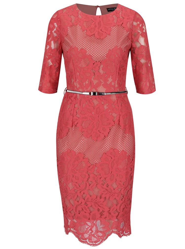 Tmavě růžové pouzdrové krajkové šaty s 3/4 rukávy a páskem Little Mistress