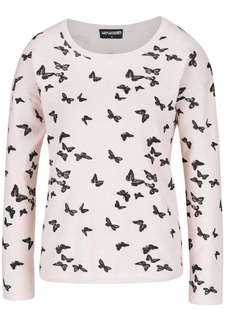 Světle růžový svetr s motivem motýlů Haily´s Nellie