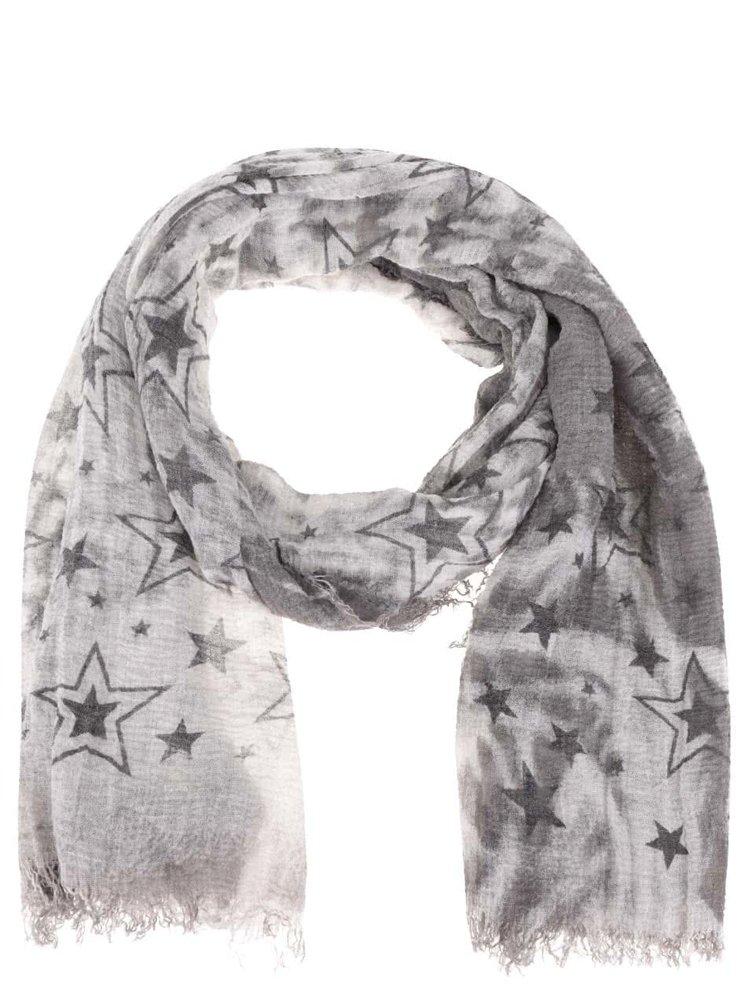 Eșarfă gri Haily´s Estefania cu imprimeu stele