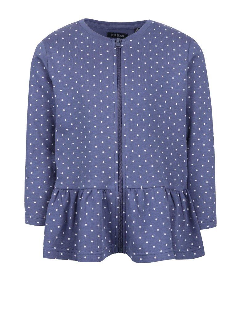 Bluză lungă albastrăBlue Seven cu buline pentru fete
