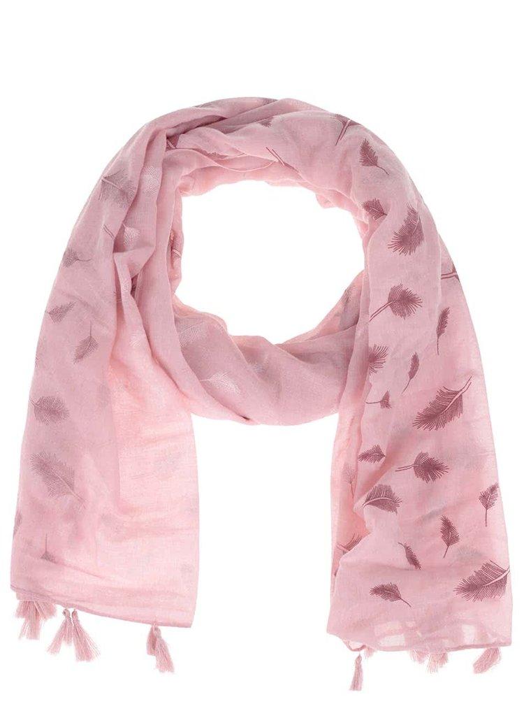 Eșarfă roz Haily´s Liliana cu imprimeu și franjuri