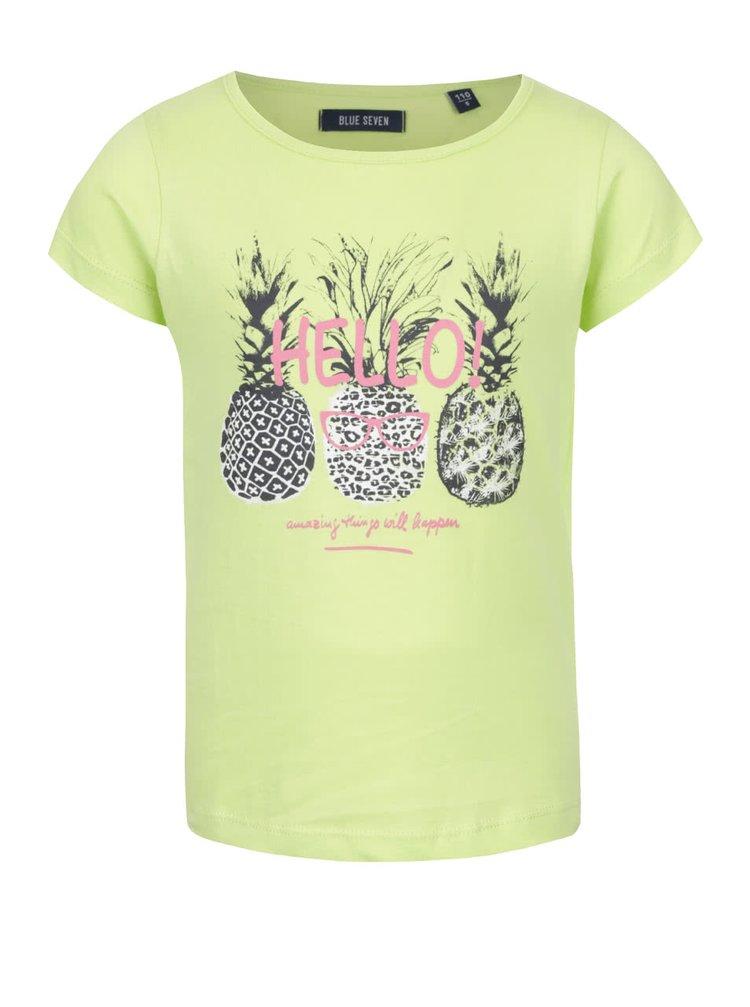 Tricou verde Blue Seven din bumbac cu print pentru fete