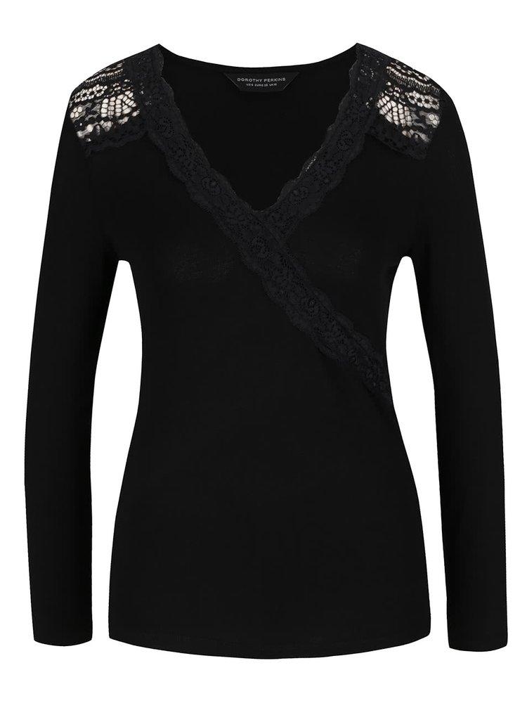 Bluză neagră Dorothy Perkins cu detalii din dantelă