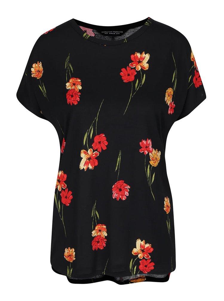 Černé tričko s potiskem květin Dorothy Perkins