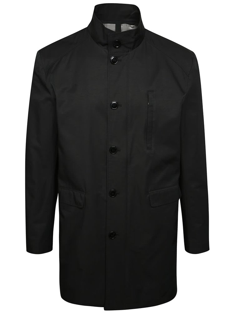 Palton negru Selected Homme Greg cu guler înalt