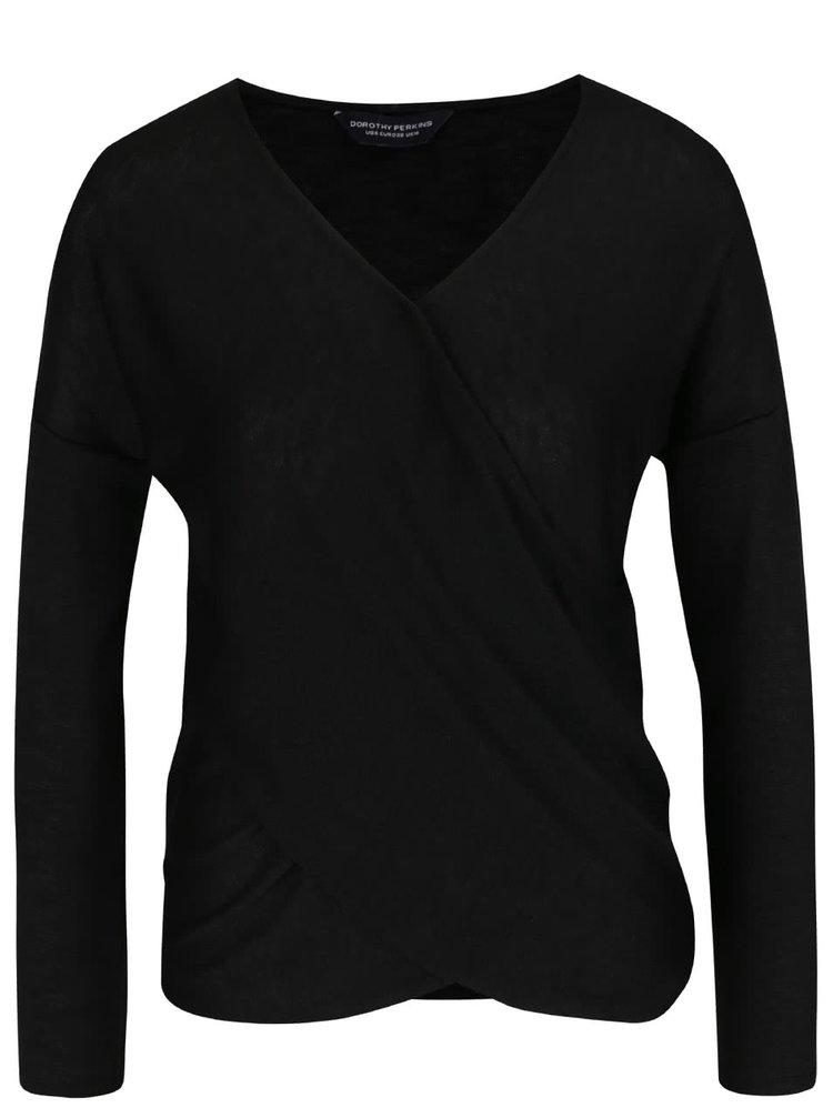 Bluză neagră Dorothy Perkins cu decolteu suprapus