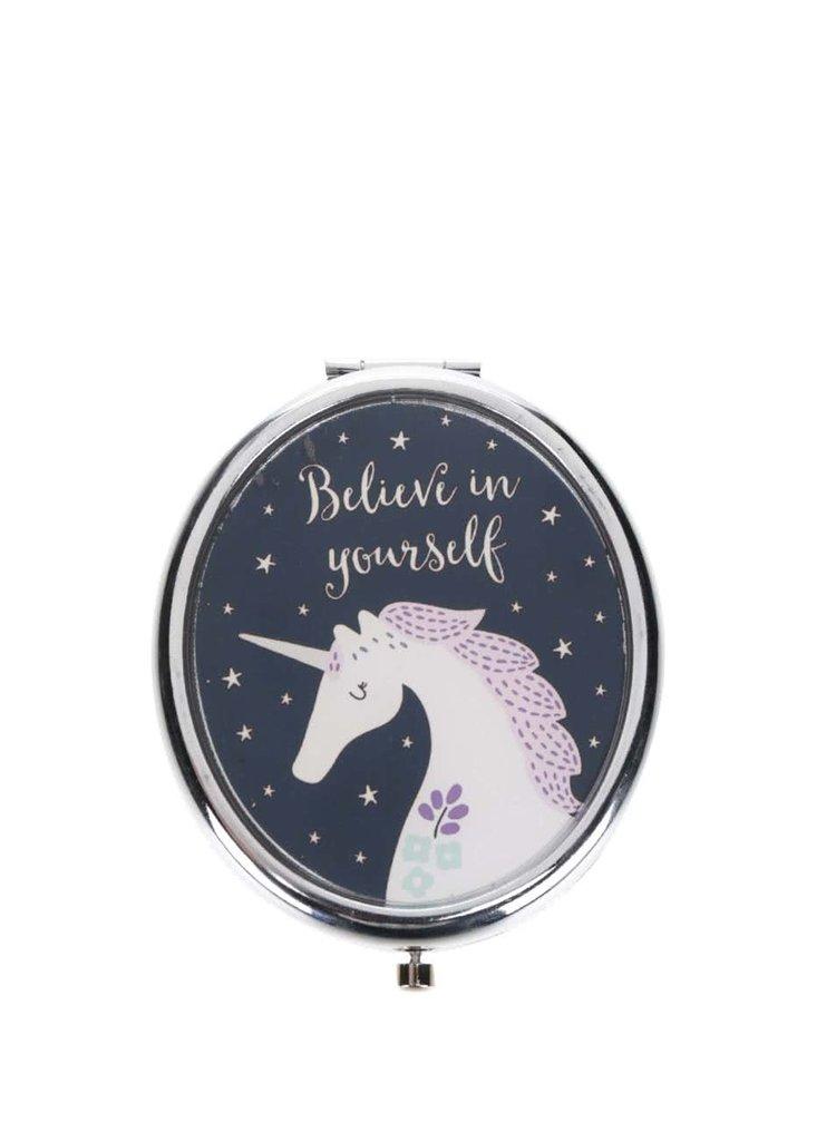 Oglindă compactă Sass & Belle cu model unicorn