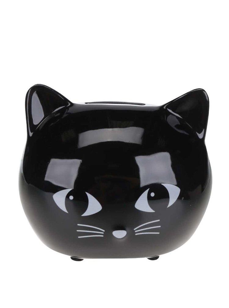 Černá kasička ve tvaru kočky Sass & Belle