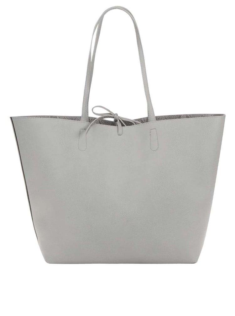 Světle šedý oboustranný shopper 2v1 Pieces Betty
