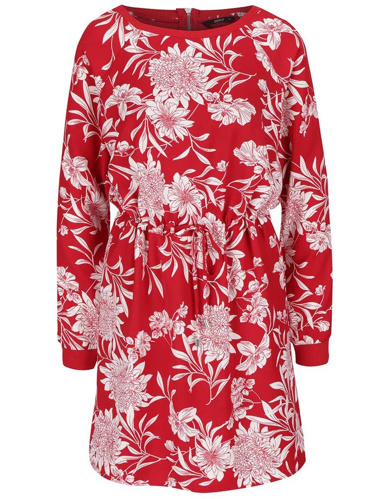 Rochie roșie cu model floral ONLY Flour