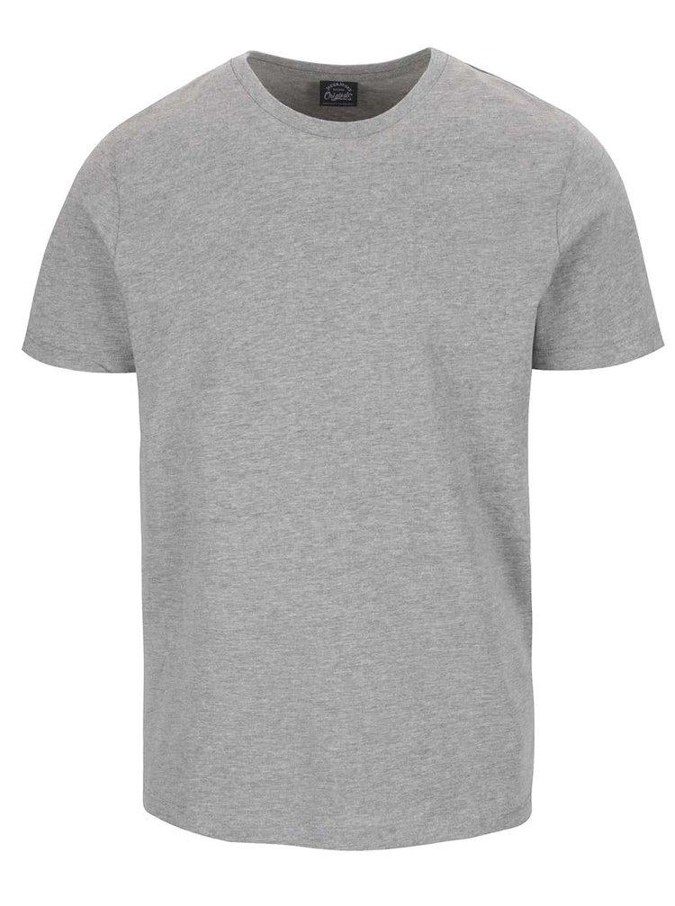 Šedé basic triko s krátkým rukávem Jack & Jones Basic
