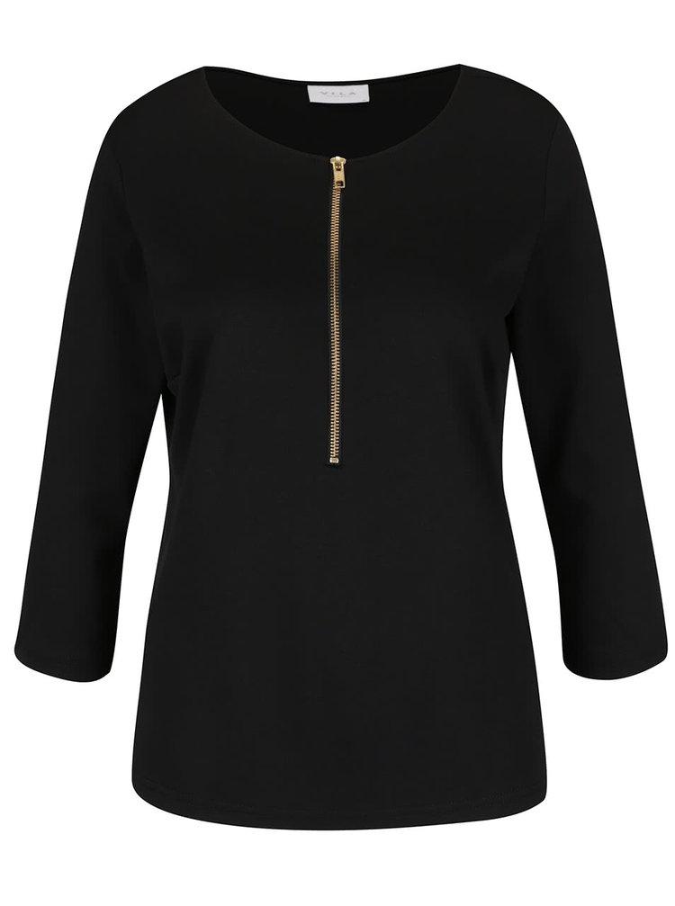 Černé tričko se zipem VILA Haula