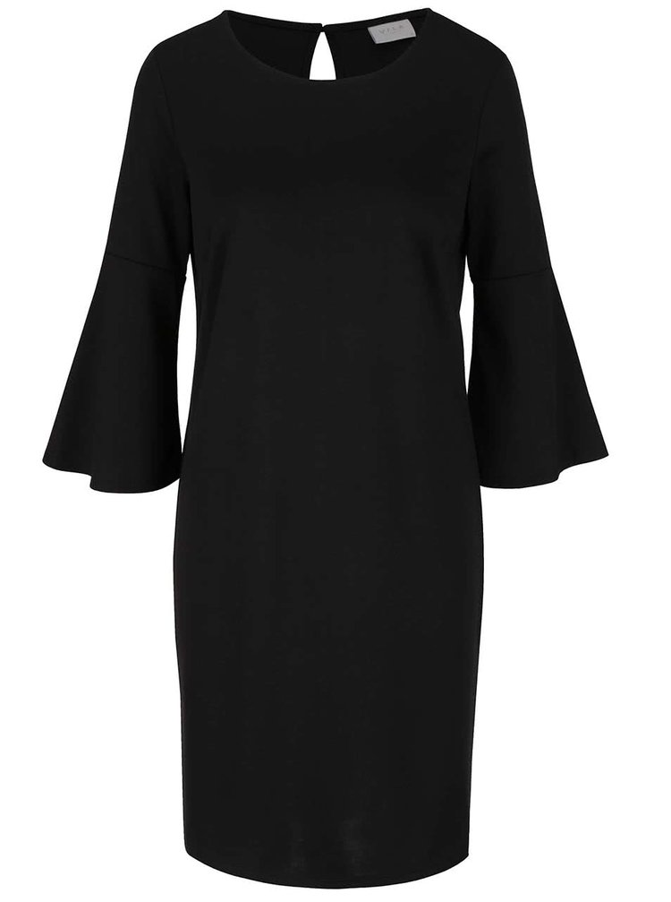 Rochie neagră VILA Ruffle cu mâneci evazate