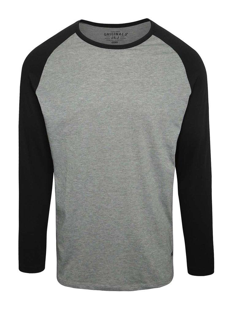 Sivé tričko s čiernymi rukávmi Jack & Jones Stan