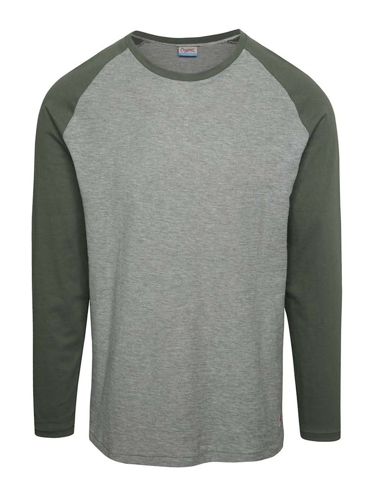 Bluza gri Jack & Jones New Stan cu maneci raglan verzi
