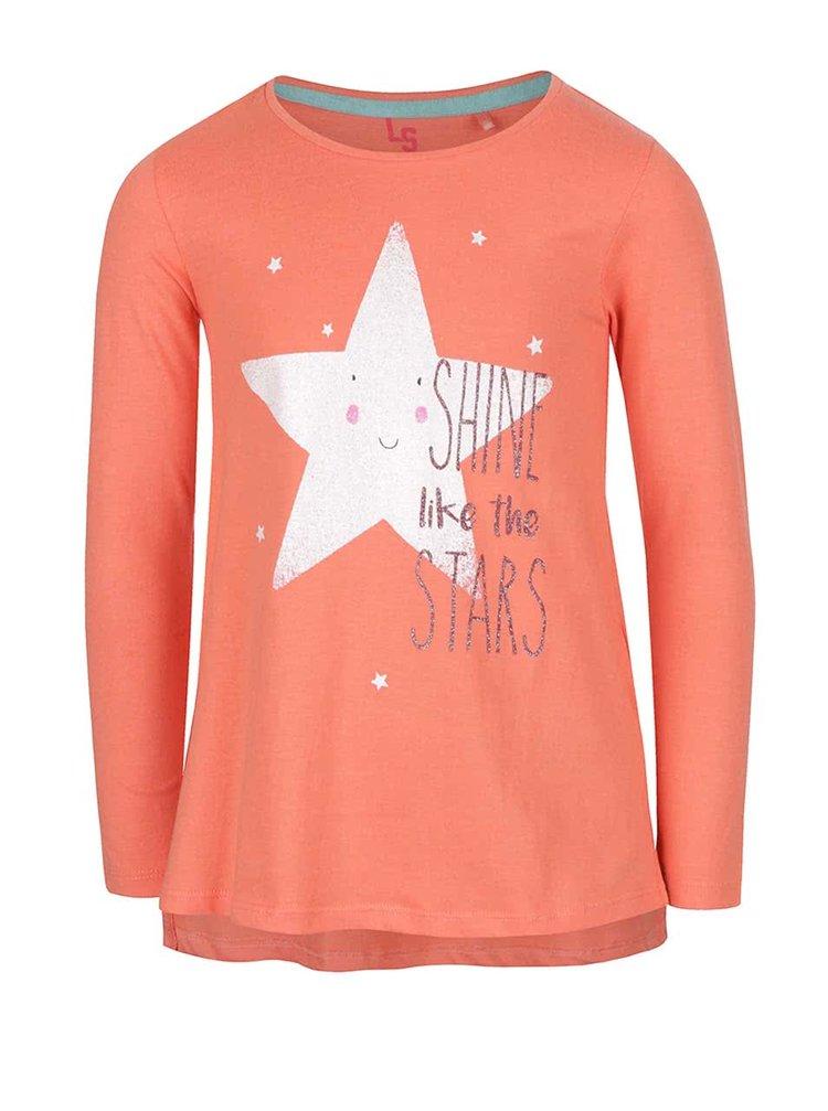 Korálové holčičí tričko s potiskem hvězdy 5.10.15.