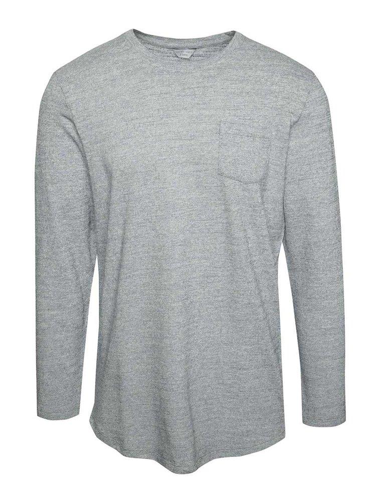 Světle šedý žíhaný lehký svetr s kapsou Jack & Jones Ozil