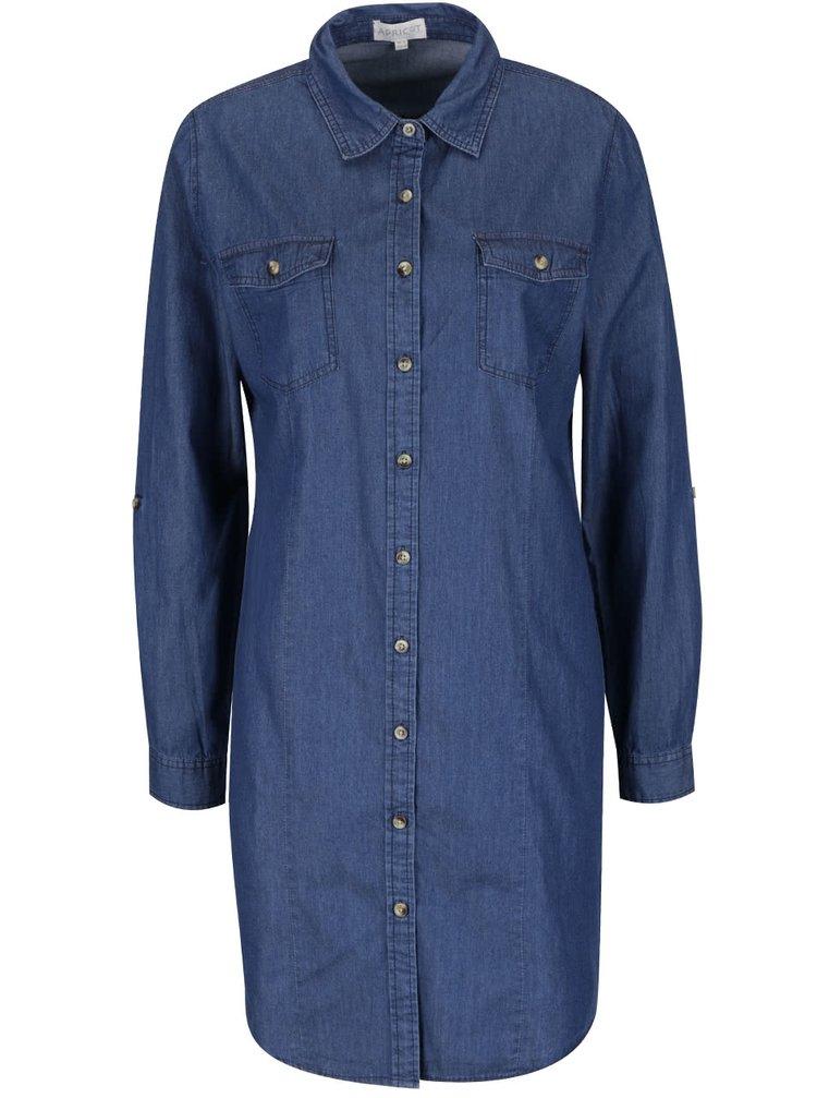 Tmavě modré džínové košilové šaty Apricot